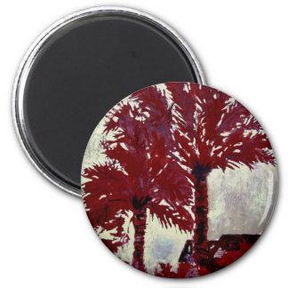 art tropical moderne acrylique de mur de palmiers aimant pour réfrigérateur