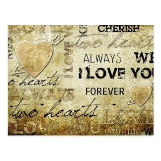 art vintage de coeur d'amour carte postale