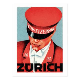 Art vintage d'étiquette de Zurich Suisse de voyage Carte Postale