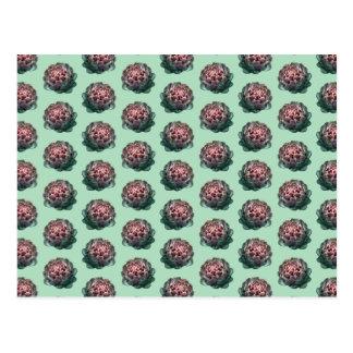 Artischocken-Muster auf hellgrünem Postkarte
