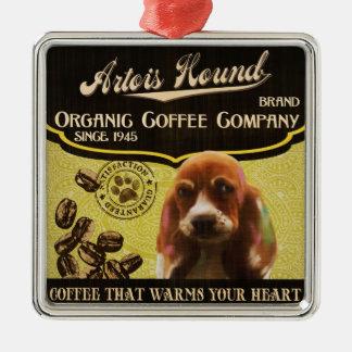 Artois Jagdhund-Marke - Organic Coffee Company Quadratisches Silberfarbenes Ornament