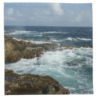 Arubas felsige Küste und blauer Ozean Stoffserviette