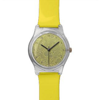 Asche weißes Paisley auf gelbem Hintergrund Armbanduhr