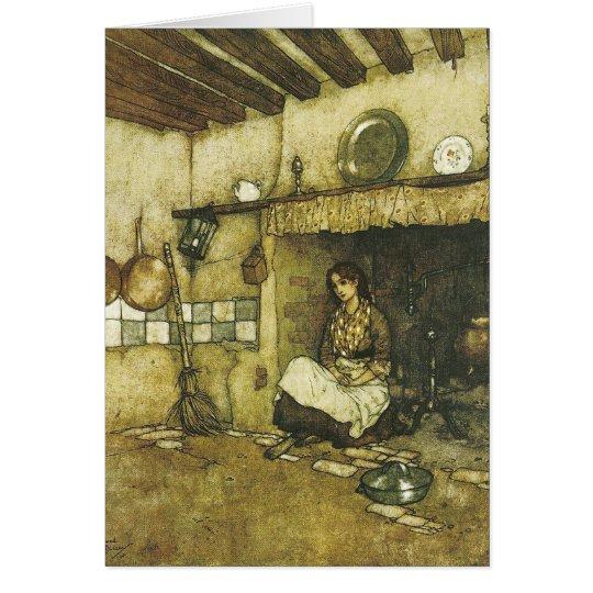 Aschenputtel, das unter der Aschen-Kunst-Karte Grußkarte