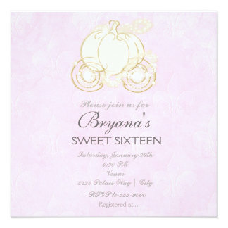 Aschenputtel-Goldwagen-Rosa-Prinzessin Invitation Quadratische 13,3 Cm Einladungskarte