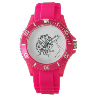 Ashleys sportliche kokette Spaß-Rosa-Armbanduhr Uhr