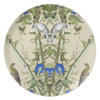 Asiatische blaue Blumen-Vogel-Melamin-Bambusplatte Teller