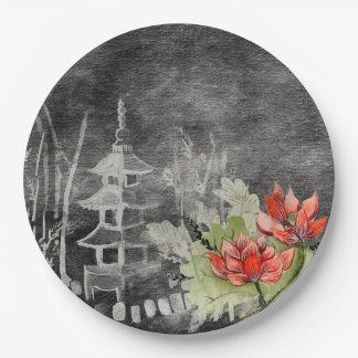 Asiatische rote   Blume der Papierplatte Pappteller 22,9 Cm