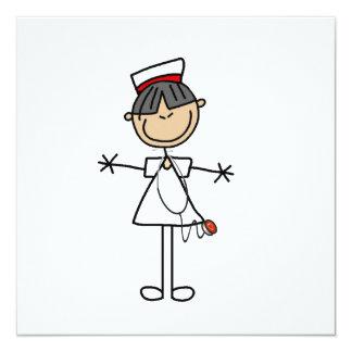 Asiatische Strichmännchen-Krankenschwester-T - Quadratische 13,3 Cm Einladungskarte