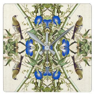 Asiatische Vogel-BambusBlumen-Tier-Wand-Uhr Quadratische Wanduhr