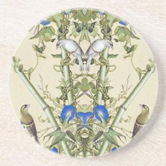 Asiatische Vogel-blauer Blumen-BambusUntersetzer Sandstein Untersetzer