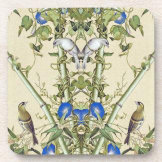 Asiatischer blauer Winden-Blumen-Vogel-Untersetzer Getränkeuntersetzer