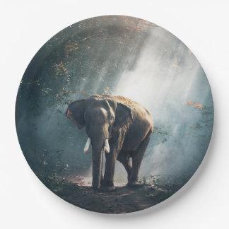 Asiatischer Elefant in einer Sunlit Waldreinigung Pappteller