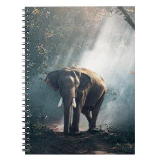 Asiatischer Elefant in einer Sunlit Waldreinigung Spiral Notizblock