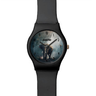 Asiatischer Elefant in einer Sunlit Waldreinigung Uhr
