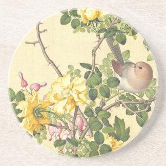 Asiatischer Vogel-Rosen-Herz-Blumen-Untersetzer Untersetzer