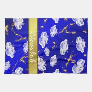 asiatisches Blütentuchblau und -gold, weiß Geschirrtuch