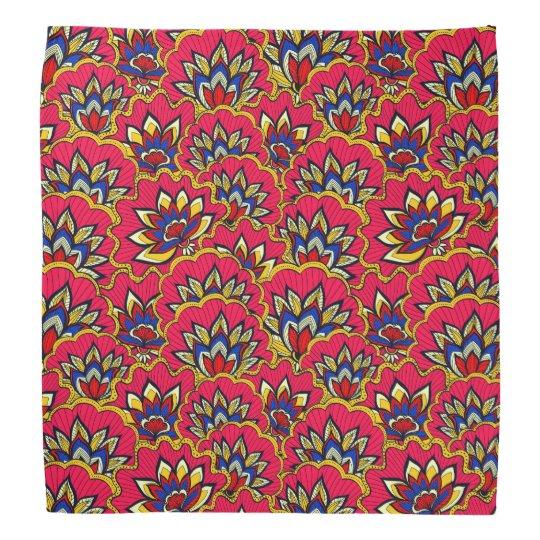 Asiatisches rotes vibrierendes Blumenmuster Halstücher