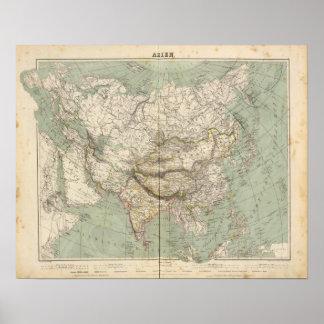 Asien-Atlas-Karte, die politische Abteilungen zeig Poster
