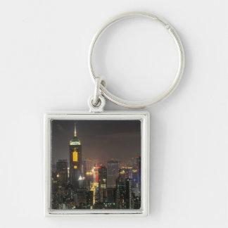 Asien, China, Hong Kong, zentral von Stubbs Straße Silberfarbener Quadratischer Schlüsselanhänger