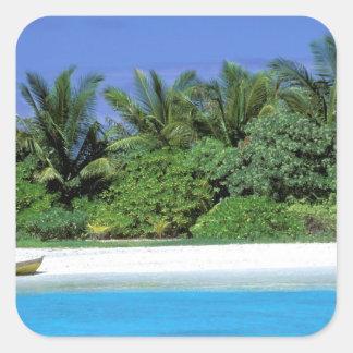 Asien, Malediven. Männliches Nordatoll Quadrataufkleber