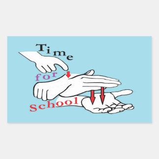 Asl-Zeit für Schule Rechteckiger Aufkleber