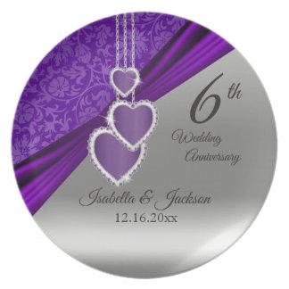 Assiette 6ème Souvenir pourpre d'anniversaire de mariage