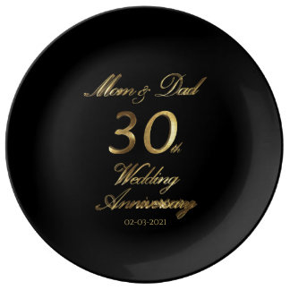 Assiette En Porcelaine 30ème Typographie d'anniversaire de mariage de