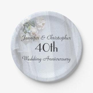 Assiettes En Papier Anniversaire de mariage vintage de plaques à