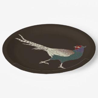 Assiettes En Papier Brun vintage d'oiseau de faisan de plaque à papier