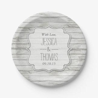 Assiettes En Papier Collection en bois blanchie nautique de mariage de