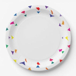Assiettes En Papier Confettis ou tessons colorés de la bordure de