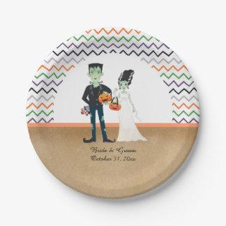 Assiettes En Papier Frankenstein et mariage de Halloween de jeune