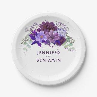 Assiettes En Papier Mariage élégant floral pourpre violet de prune