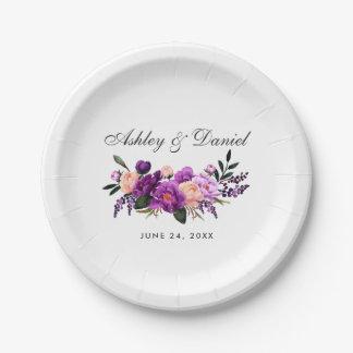 Assiettes En Papier Mariage floral d'aquarelle pourpre ultra-violette