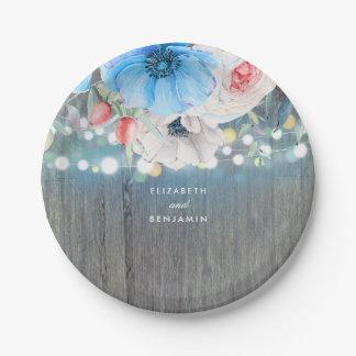 Assiettes En Papier Mariage floral rustique de bleu de turquoise