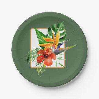 Assiettes En Papier Mariage floral tropical d'aquarelle