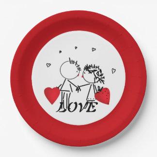 Assiettes En Papier Mariage, jour Valenine, amour