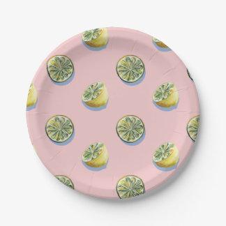 Assiettes En Papier Motif jaune coupé de peinture de citron de rose en