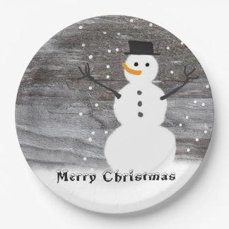 Assiettes En Papier Noël de bonhomme de neige rustique blanc de plaque