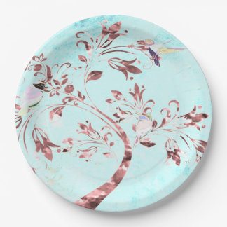 Assiettes En Papier Oiseaux de rose d'aqua d'abrégé sur plaque à