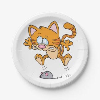 Assiettes En Papier Plaques à papier de chat et d'une souris