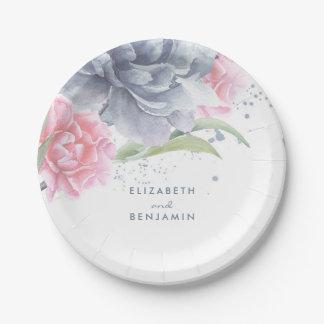 Assiettes En Papier Rose et mariage floral bleu poussiéreux