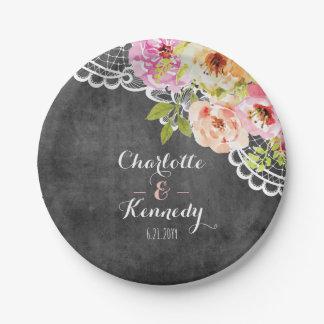 Assiettes En Papier Roses et dentelle rustiques de mariage de ferme
