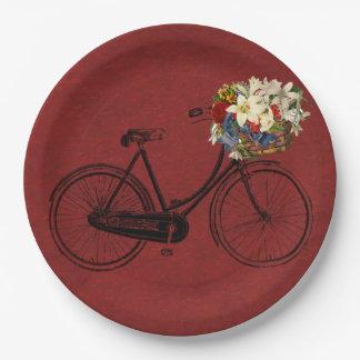 Assiettes En Papier Vélo en ivoire   rouge de bicyclette merlot de