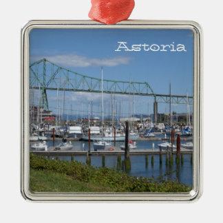 Astoria, Oregon Quadratisches Silberfarbenes Ornament