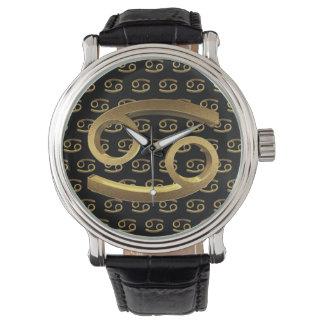 Astrologie-Tierkreis-Zeichen-Krebs-Goldsymbol Armbanduhr