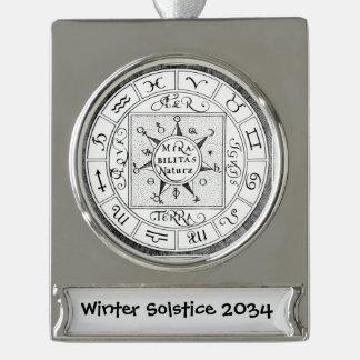 Astrologie-Zeichen-Tierkreis-Symbole Banner-Ornament Silber