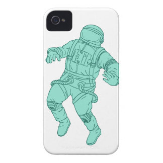 Astronaut, der beim Raum-Zeichnen schwimmt iPhone 4 Hülle
