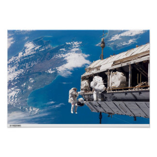 Astronauten auf einem Spacewalk Poster